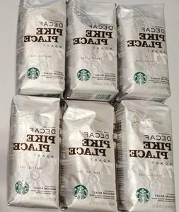 6 packs Starbucks DECAF PIKE PLACE ROAST Whole Bean Coffee t