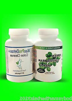 90 GREEN COFFEE BEAN EXTRACT  60 MAX PRO DETOX COLON CLEANSE