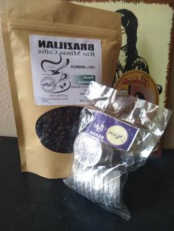 Brazilian Arabica Fresh Roasted Coffee Beans 8oz & 4oz choco