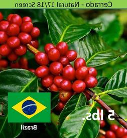 Green Coffee Beans Brazil Cerrado SSFC Unroasted, 5 lbs. Bra