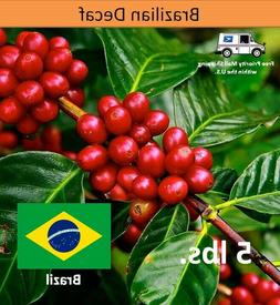 Green Coffee Beans Brazil Decaf Premium Unroasted, 5lbs