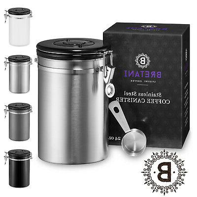 24oz stainless steel coffee canister scoop set