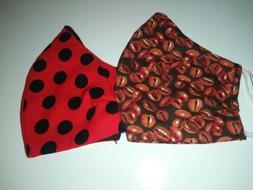 Set of 2 Handmade Face Mask Coffee Beans Polka Dot 100% Cott